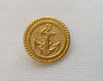 """Anchor Button. Gold Anchor button. Size 13/16"""", Lot of 4 Buttons. Satin finish."""