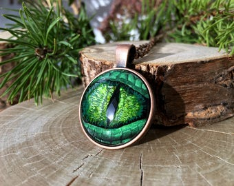 Green Dragon Eye | Dragon Eye Necklace | Hand Painted Glass Eye | Antique Copper Necklace | Dragon Eye Jewelry