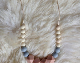 Silicone Teething Necklace - Blush, Grey, Cream Teething Necklace, BPA free, Food Grade Silicone, Geometric, Chew, Teething Toy, Baby Shower
