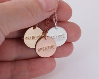 inspirational, word of the year, mantra necklace, what's your word, choose your word, courage jewelry, fearless necklace, yoga jewelry