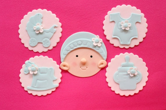 baby girl cupcake toppers 12pcs edible baby shower fondant