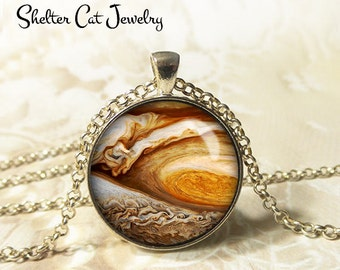 "Jupiter Great Red Spot Necklace - 1-1/4"" Circle Pendant or Key Ring - Wearable Art Photo - Galaxy, Constellation, Space, Universe, Gift"