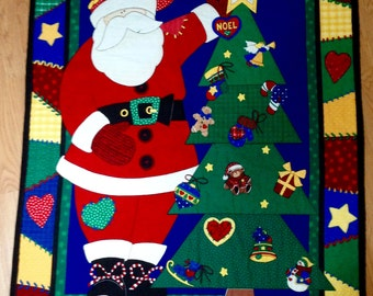 Christmas Throw Quilt, Preprinted panel with Santa and Christmas Tree, Lap Quilt, Christmas Wall Hanging, Quiltsy Handmade