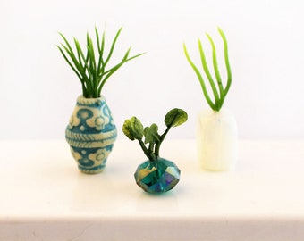 Set of 3 Miniature Vases - Tiny Turquoises Collection