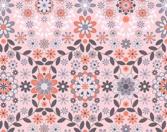 "OOP New Jenean Morrison Silent Cimena SUNRISE HDJM02 Orange Floral Home Dec 55"" wide 18"" BTHY Pink Quilting Sewing Quilt 100% Cotton Fabric"