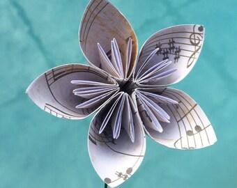 Gold origami paper flower with stem origami flower wedding vintage sheet music paper flower with stem origami flowerkusudama flower bouquet mightylinksfo