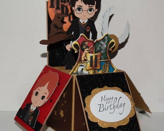 Harry Potter, Happy Birthday handmade 3D pop up greeting card, golden