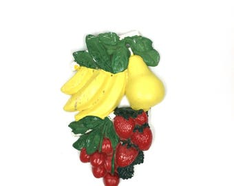 Vintage Plaster Fruit 1970s Chalkware Fruit Cherry Vintage Plaster Colorful Fruit Cherry Strawberry Banana Pear Decorative Plaster