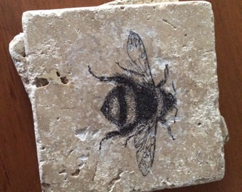 """Bee Coasters Vintage Bumble Bee Tile Coasters, Antique, 4"""" x 4"""" Tumbled Stone, Shabby Chic Bees drink coasters set of four"""