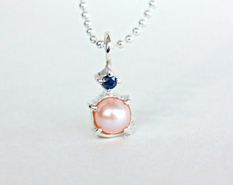 Pearl & Blue Sapphire Pendant Sterling Silver Pearl Charm Solitaire Necklace Pendant Natural Pearl Sapphire Jewelry Necklace