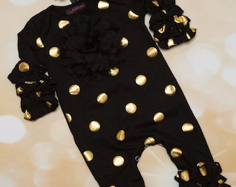 Black and Gold Ruffle Infant Layette Cotton Baby Romper with Large Chiffon On The Chest and Matching Headband