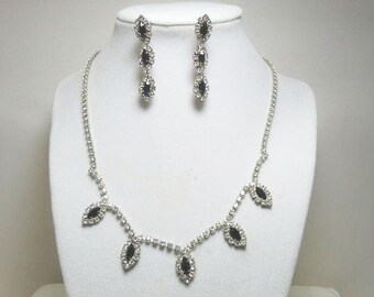 Rhinestone Necklace With Matching Earrings / Black and Clear Rhinestone Necklace with Matching Earrings