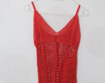 Camisoles top, lingerie 19700 orange cotton, vintage/romantic