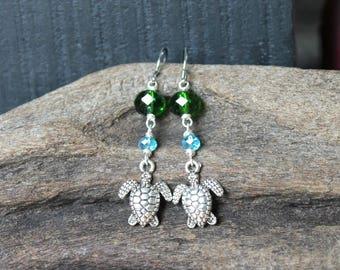 Sea Turtle Earrings made in Hawaii - Hawaiian Jewelry - Sea Turtle Jewelry from Hawaii - Hawaii Jewelry - Hawaiian Honu Earrings from Oahu