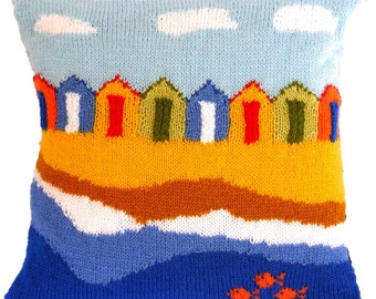 Beach Huts Cushion Knitting Pattern, Pillow Knitting Pattern with Beach Huts, Seaside Pillow Knitting Pattern, Beach Huts Cushion pattern