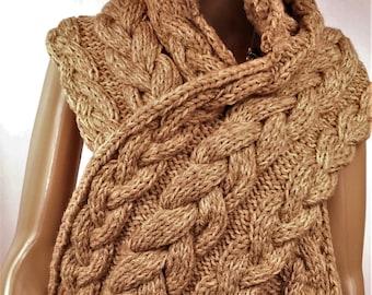 wool scarf, women scarf, hooded scarf, wool scarf knitted scarf handmade scarf Brown scarf, warm scarf