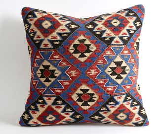 20x20 Ethnic pillow case, rag rug pillow, bohemian pillow, antique pillow, pillows, wool pillow, kilim pillows, boho pillow, floor pillow