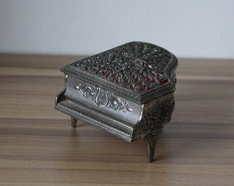 Vintage Silver Red Musical Cherub Piano Trinket Jewelry Box Filigree Cherub Harp Marked Japan