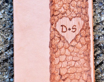 "Leather Bookmark. ""initials carved in a tree"" (Personalizable) (Aprox. 4.5"" x 2"")"