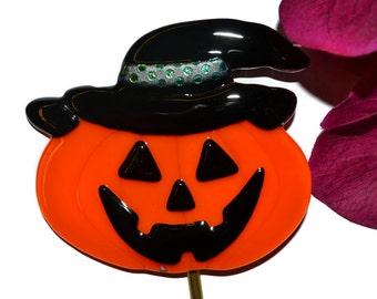 Jack O Lantern Plant Stake, Fused Glass, Pumpkin Garden Stake, Halloween Yard Art, Garden Art, Halloween Decor