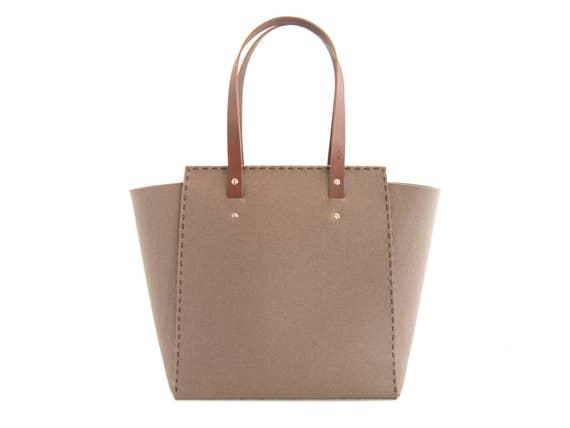 Extra large Felt TOTE BAG / taupe felt tote bag / brown felt shopper / shopping bag / felt shoulder bag / carry all bag / made in Italy