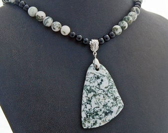 Tree Agate Onyx Natural Stone Pendant Necklace