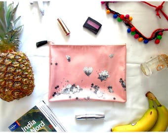Pink clutch bag, magical handbag with starlets and silver Shakerabili elements