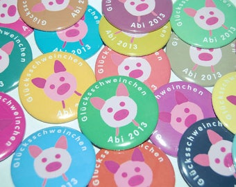 10 x lucky pig with compose E.g. ABI 2017 button buttons set large 50 mm new year's good luck charm