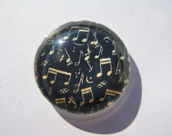 Cabochon 25 mm round domed Music