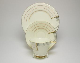 Antique 1930s Art Deco Modernist Royal Doulton Magna porcelain trio cup, saucer, plate