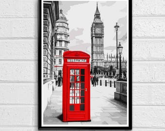 Red Phone Booth and Big Ben - London Pop Art Palace of Westminster Print and Poster England Monument UK Landmark Travel Home Decor Canvas