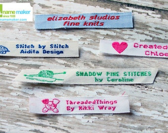 Woven Clothing Labels, Custom Labels, Cotton Woven Fabric Labels, Clothing Labels, Woven Labels, Sew On Labels, Knitting Crochet Labels
