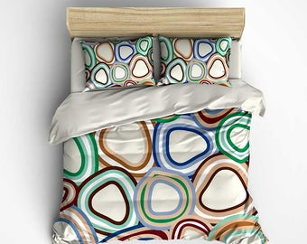 Blue Green Duvet Cover or Comforter, Red Brown Beige Mint Green Bedding Set with Pillowcases, Doona Cover, Bed Cover Queen, King, Twin