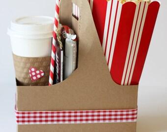 Kraft drink carrier (6), plain kraft paper drink carrier, gift baskets