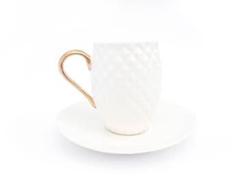 Coffee Cup with Pineapple Pattern, Chocolate Cup, Porcelain Cup Decorated with Gold, Textured Cup