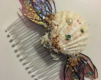 Fantasy Fairy Mermaid Pirate with Shell and Fairy Wings Hair Comb