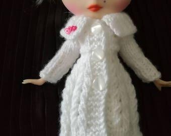 Handmade,knitted,white,long cardigan for Blythe doll