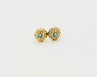 Turquoise and Seed Pearl Earrings, Button Style Earrings, Pierced Turquoise and Seed Pearl Gold Earrings, Antique Pierced Earrings