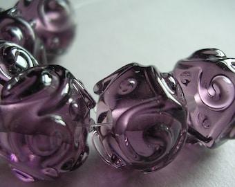 Handmade Glass Purple Lampwork Beads Ericabeads Plum Scrolled Sparklies (6)