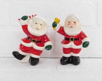 Vintage Japan Santa Salt and Pepper Shakers, Christmas Serving, St Nick Shakers, Christmas Decor