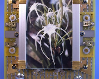 Recycled Circuit Board Techie PICTURE FRAME Mellow Yellow