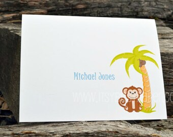 Peronsalized Note Cards / Kids Personalized Monkey Note Card / Boys Monkey Notecards / Kids Stationery /  Boy Monkey Notes / Monkey Cards /