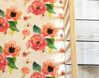 Crib Sheet Floral Dreams. Fitted Crib Sheet. Floral Crib Sheet. Floral Baby Bedding. Crib Sheet