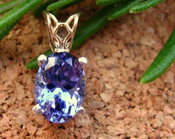 Tanzanite Pendant in 14k Yellow Gold and Silver, Fair Trade and Recycled, 8x6mm