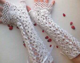 Crocheted Cotton Gloves M Ready To Ship Victorian Fingerless Summer Women Wedding Lace Evening Knitted Bridal Party White Corset Opera B57