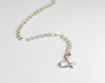 Ampersand Necklace, Sterling Silver Wire And Symbol Jewelry, & wire Pendant Necklace