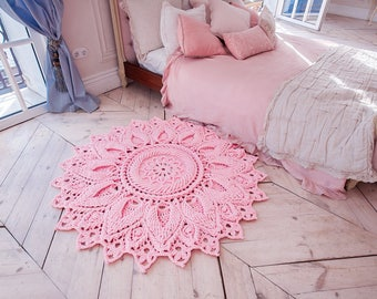 "Pink crochet rug, round area rug (55 in), doily rug, yarn lace mat, nursery carpet, girl's room floor decor by LaceMats ""LaceElvenFlower"""