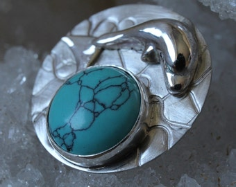 Silver Dolphin hanger with howlite