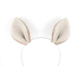 Deer Ears Hair Clips Doe Costume Fluffy Plush Beige Tan Deer Ears