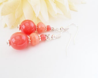 Pink Coral Earrings Sterling Silver, Gift for Her, Jade Earrings, Bridesmaids Gift for Her, Spring Wedding Jewelry Clip On Best Selling Item